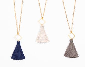 Gray tassle necklace Grey Tassel necklace silk Long Tassel necklace gold Boho necklace long Gold tassel necklace Boho necklace gold