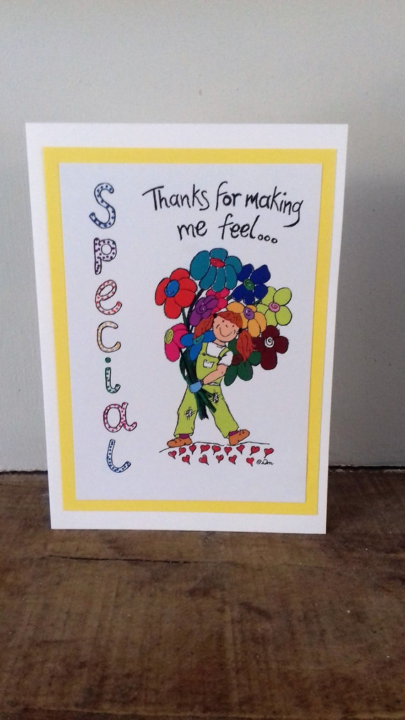 Thank You Card Thanks For Making Me Feel Special Original Etsy