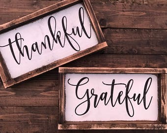 thankful - grateful - blessed - host gift - hostess gift - thanksgiving - thanksgiving decor - fall decor - fall signs - fall mantle -