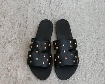 fc79337a0 Black Greek Leather Sandals, Handmade Gladiator sandals, Black Sandals  decorated with metallic studs, summer shoes,flats, gladiator rock