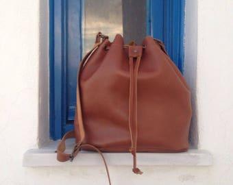 Leather Bucket Bag, Brown Leather Handbag, Bucket Handbag, Crossbody bag, Shoulder  Bag, Real Leather Bag, Leather purse,Handmade in Greece 86e394fb58