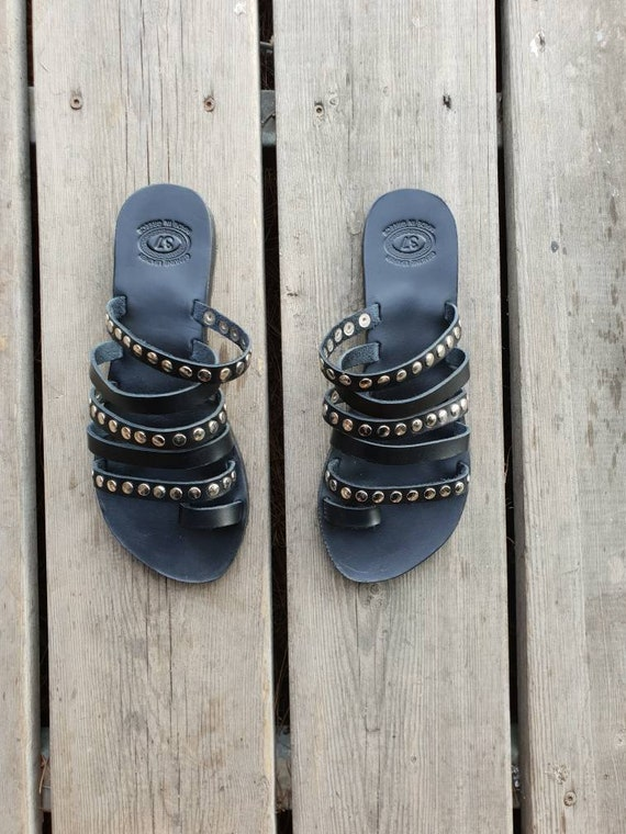 metallic Leather women studs decorated Black shoes with gift sandals flats Sandals Black gladiators strappy Greek Gladiator summer n5zwWqfqS8