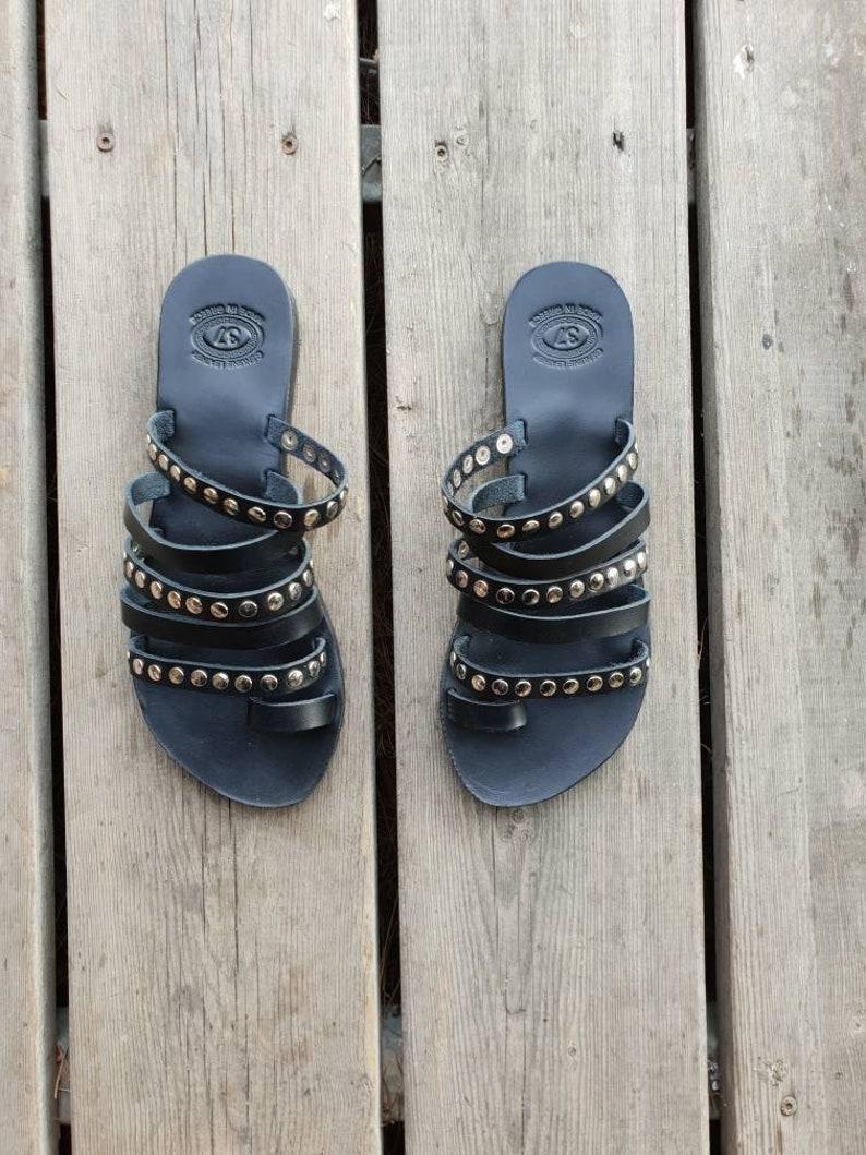 805c416d0 Black Greek Leather Sandals Handmade Gladiator sandals Black | Etsy