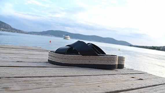 Women shoes Greek Black Handmade Summer Sandals Espadrilles Sandals Sandals Platform Gladiator Greek Criss gift Cross Leather nIpqRq