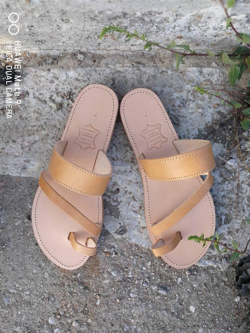 5e415562c1bbc Greek Gladiator Sandals, Slip on Sandals, Summer Flats, Leather Sandals,  Roman Sandals, Women Sandals, Leather flats, Real Leather, Handmade