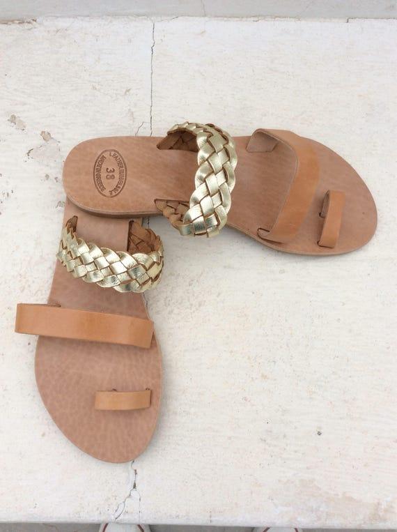 Sandals Roman Greek Leather Summer Sandals Sandals Greek Flats Sandals Gladiator on Sandals Sandals Braided Braided Women's Slip 1OEwqn6