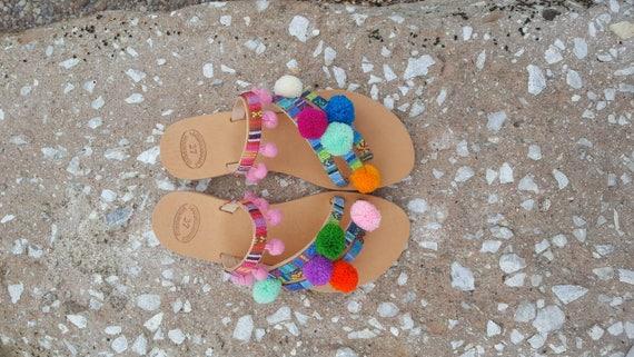 Summer sandals Handmade Sandals Boho Women Pom Pom Slip Sandals Flats shoes decorated shoes Leather on sandals Greek gift Sandals XwRzqYX