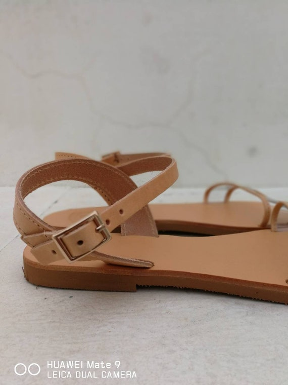 on Leather Greek Sandals Sandals Slip shoes Leather Sandals Women's Strap Flats Clear Sandals Handmade Black flats Leather Summer qqw1O