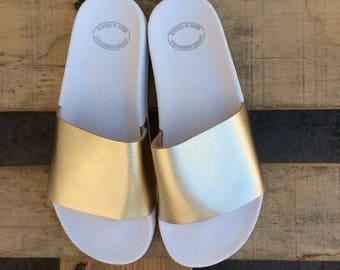 Gold Slides, Greek Leather sandals,Wedding Sandals,Greek Gold Sandals,Gold sandals,Gold Leather Sandals,Women Slide Sandals, Slip On Sandals