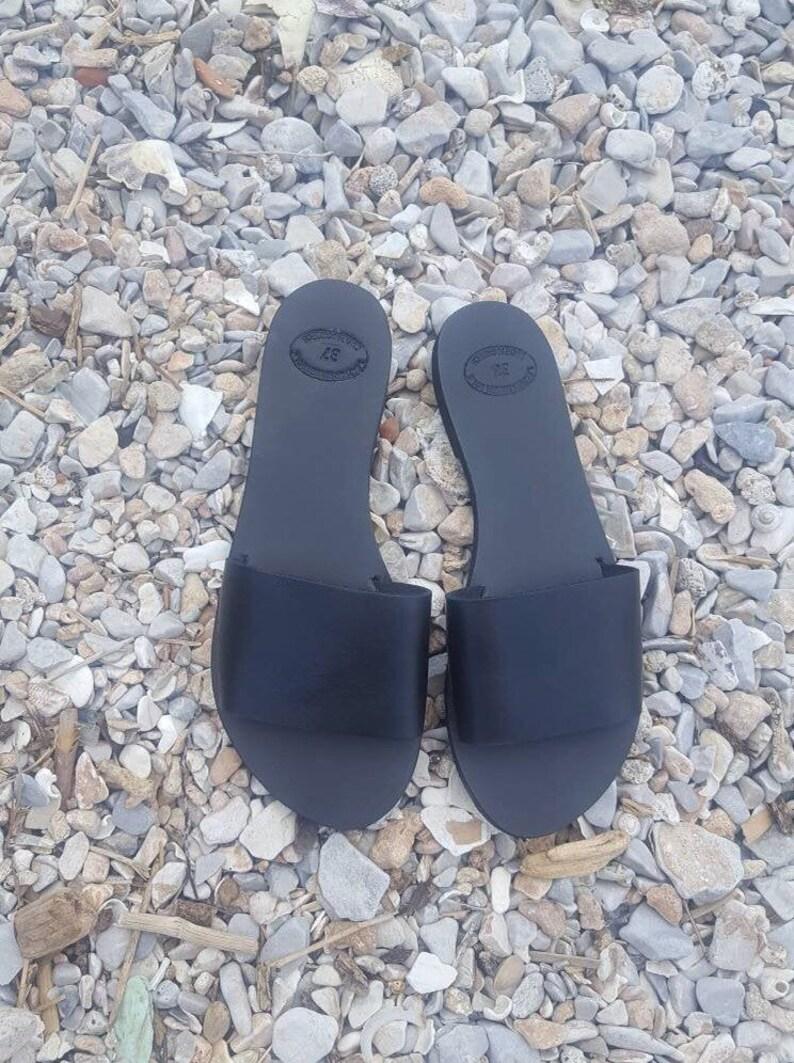 c4e6966e789ff Black slides, Greek Sandals, Gladiator sandals, Mules, Slip on Sandals,  Summer Flats, Leather Sandals, Roman Sandals, Women's Sandals, Flats