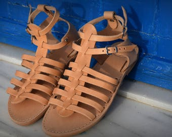 Classique Gladiator sandales, sandales en cuir véritable, grec sandales en cuir naturel, grec véritable cuir, gladiateurs pour femmes, sandales romaines