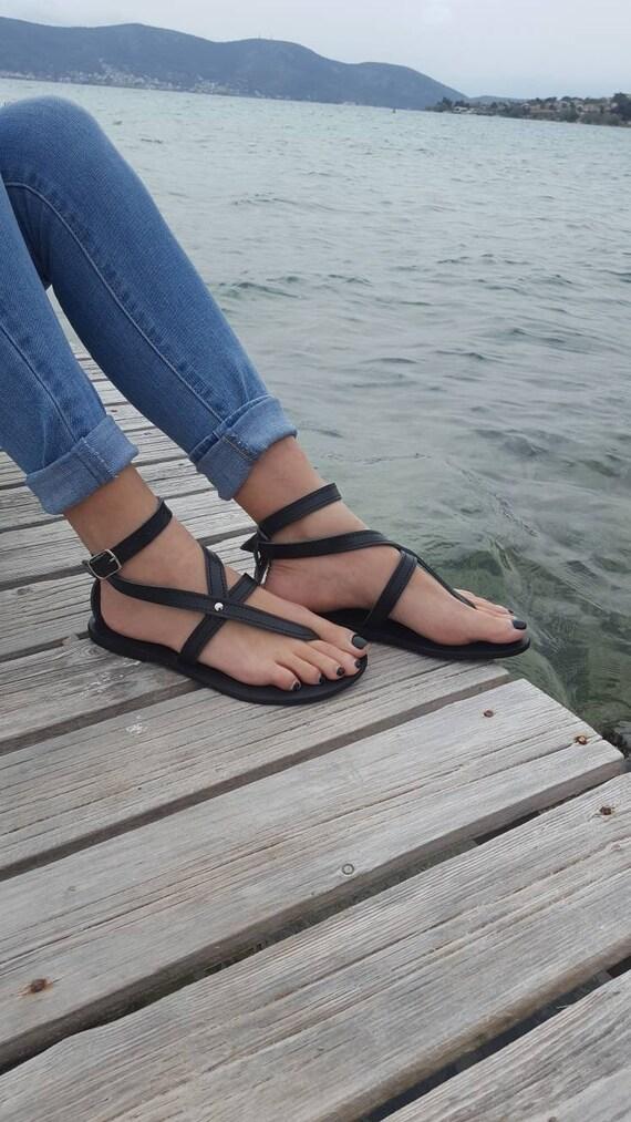 cc390447ba5c Black Greek sandals Leather Sandals Wedding Gift Bridesmaid