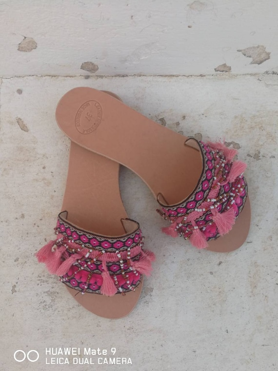 sandals shoes Summer Women gift flats decorated slides sandals Ethnic Handmade boho anti rubber slip pink Greek shoes Leather sole d0Ydqx