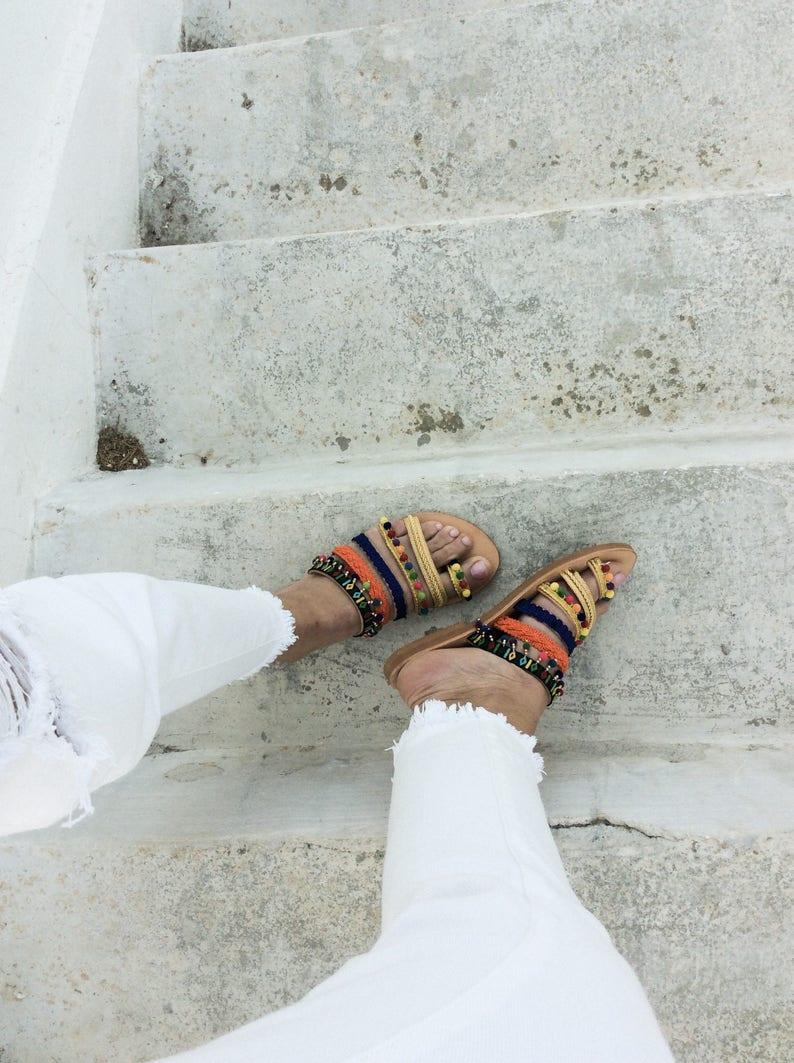 Pom Pom Sandals Leather flats Women/'s Sandals Gladiators, Boho leather sandals Slip on Sandals,Leather Sandals Greek Sandals