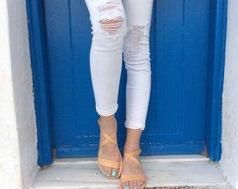 Vrai cuir grecs sandales, sandales d'été dans la couleur naturelle, des sandales à la main, sandales gladiateur, appartements l'été grec, parfait à lanières