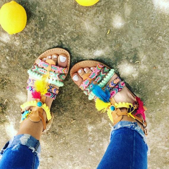 Pom sandales Boho sandales sandales gladiateur cadeau Pom sandales Sandales Boho femme grecques d ORnfqxwS4
