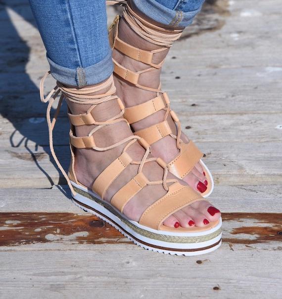 Tie up gladiator sandals, Platform Leather Sandals, Greek Sandals, Lace up Sandals, Tie Up Sandals, Gladiator sandals, Women's sandals