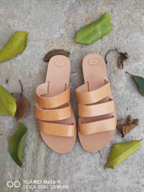 Greek Gladiator Sandals, Slip on Sandals, Summer Leather Sandals, Roman Sandals, Women's Sandals, Leather flats, Natural Leather, Handmade