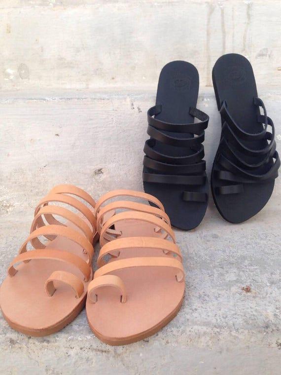 Greek flat Beach Greek Slip Sandals Flats Greek Black Leather Wedding Black Sandals sandals sandal Gladiator Strappy Sandals Strappy on AwIqOTzq
