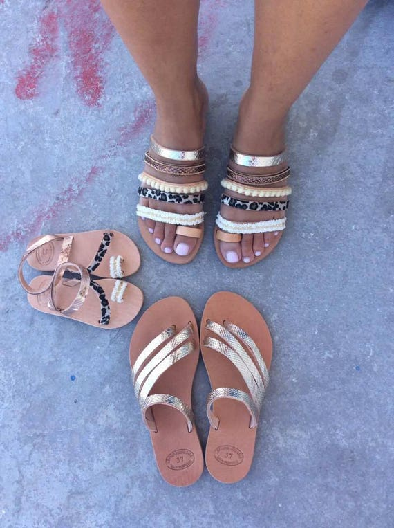 Leather Sandals Flats Women's Sandals Leather Handmade Sandals Summer Slip Sandals Decorated on flats Handmade Natural leather Greek Fqg1Rw
