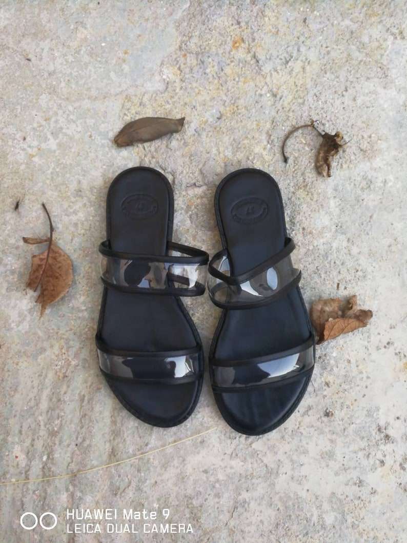 f38c3e69a3bdf Greek Leather Sandals Clear Strap shoes Slip on Sandals | Etsy