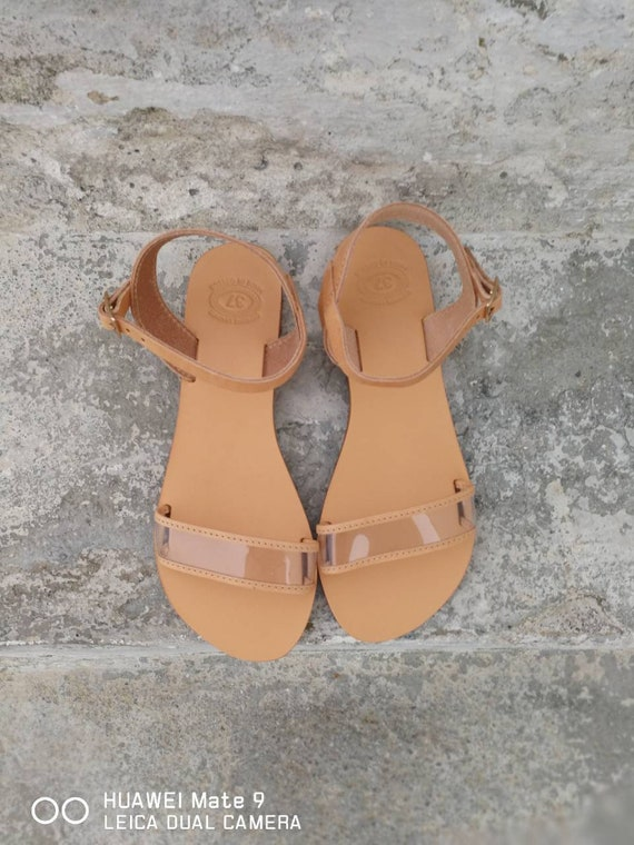 Slip on Women's Leather Leather Sandals Sandals Strap Sandals Black Flats Greek Sandals Summer flats Handmade Leather shoes Clear HIAAFq