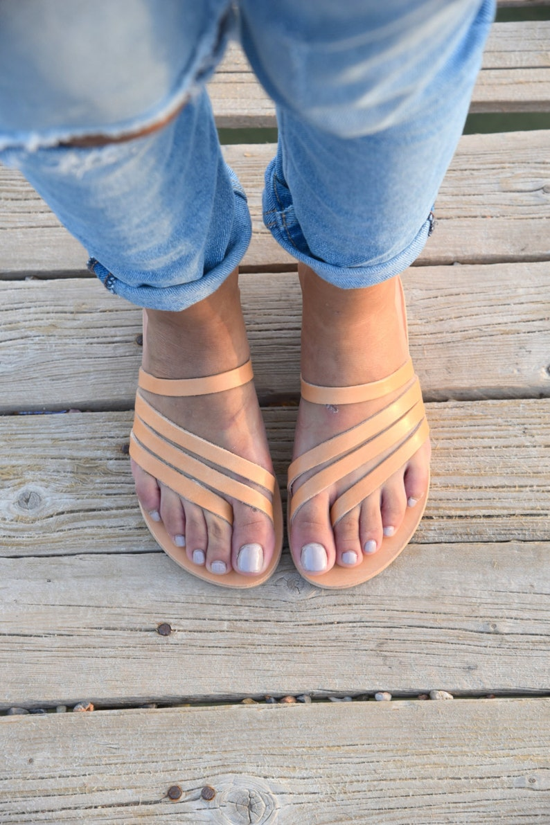 Greek Sandals Slip on Sandals Summer Flats Leather Sandals image 0