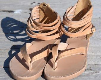 Sandales en cuir grec, sandales gladiateur en cuir pour femme, sandales grecques, sandales de mariage, mariage plage sandales de plage, sandales femmes, fait à la main
