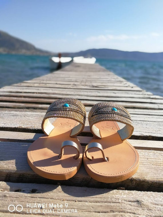Boho shoes rhinestones Sandals Sandals flats form summer shiny Greek women Leather Handmade sandals decorated sandals comfortable U8wndXqxP