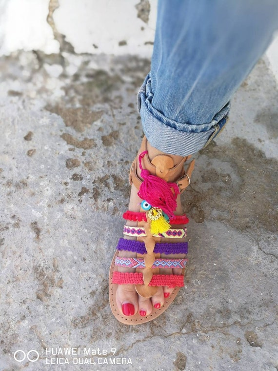 flats Greek Flats Gift Women Gladiator Sandals Sandals Sandals Leather Sandals pink Leather Boho Natural Summer Sandals Handmade BxwW7Ir4Bq