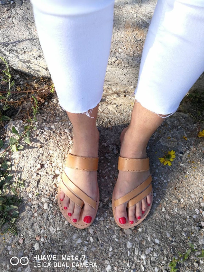 9349f1cd003d2 Greek Leather Sandals, Greek Slip on gladiator, Slip on Sandals, Summer  Flats, Leather Sandals, Roman Sandals, Women Sandals, Leather flats
