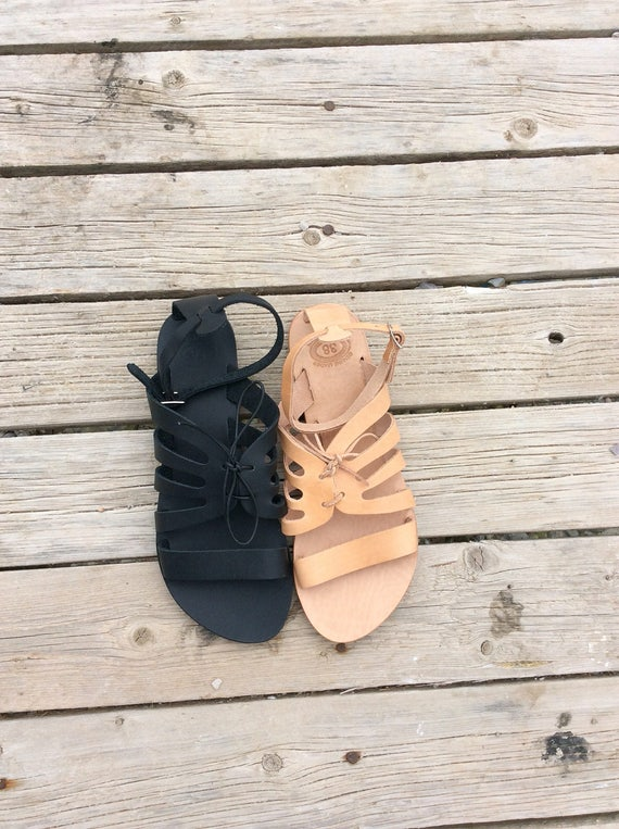 Sandals flats shoes women Beach Black Sandals Sandals Greek Summer Gladiators shoes Leather wedding Sandals gift Handmade Pq8wP4av
