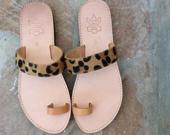 Pony Skin Sandals, Greek Leather sandals , Barefoot Sandals, Leopard Sandals,Gladiator Sandals, Beach Sandals,Women Sandals, Slip on Sandals