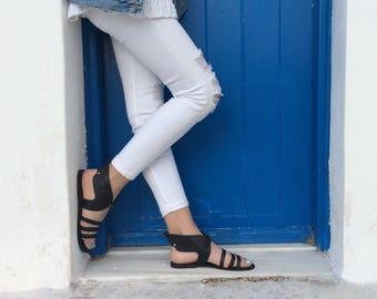Hermes noir sandales, Hermes grec sandales, cuir grec sandales, sandales gladiateur en cuir, chaussures femmes, sandales à la main, sandales Hermes