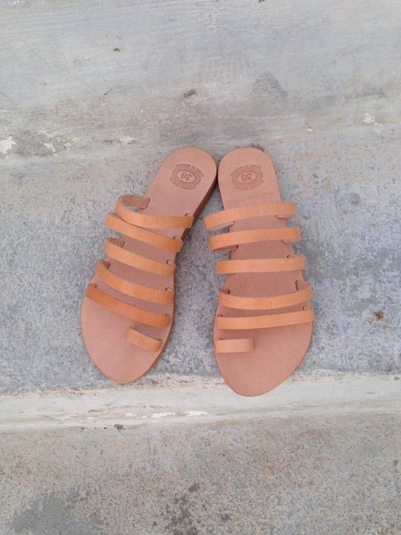 8e630bcfd3dd Greek Slip on leather Sandals Gladiator sandals Greek