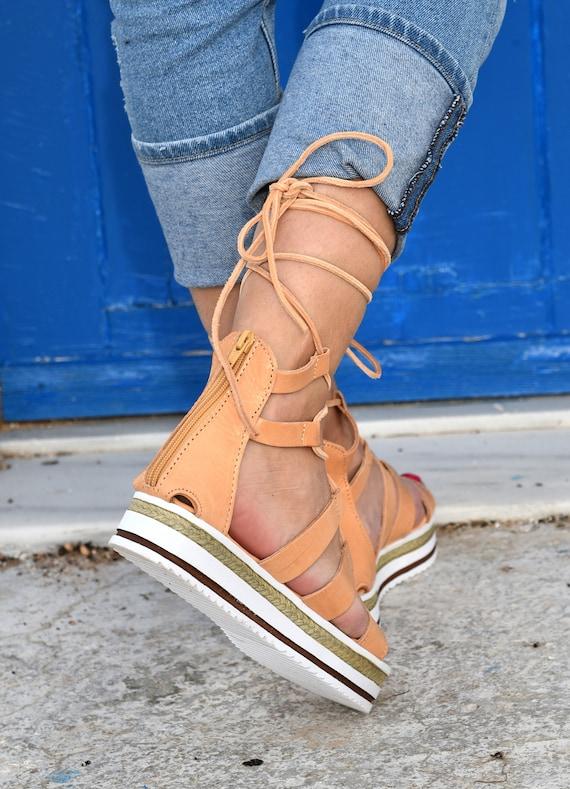 Tie Sandals sandals Greek up Women's sandals Sandals sandals Leather Sandals Sandals Up Tie Platform Lace gladiator Gladiator up gvgxqYr