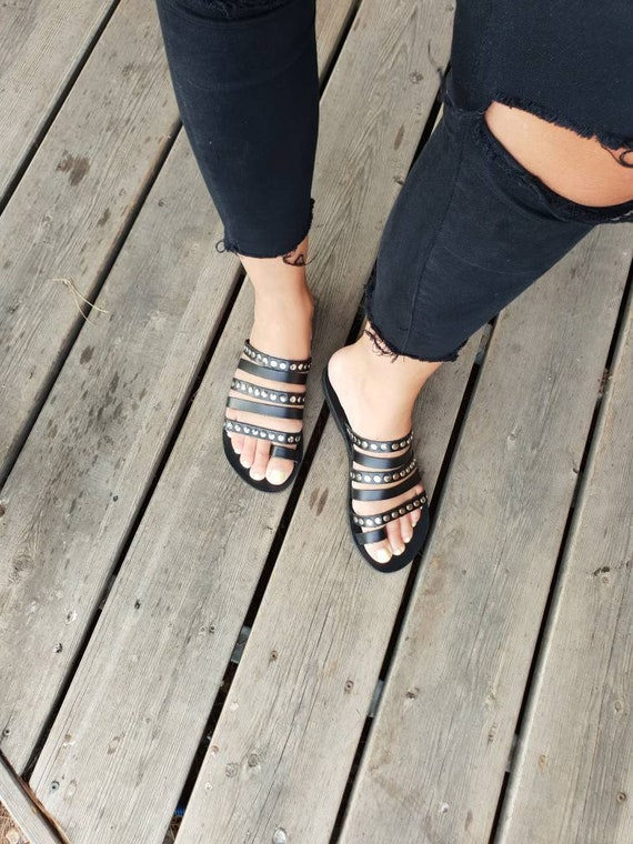 flats gift metallic with Sandals gladiators decorated Leather summer studs Greek Black women shoes sandals Gladiator strappy Black q6wfSa