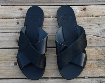 Black Leather Sandals, Ancient Greek sandals, Cross over sandals, Criss Cross Sandals, Greek sandals, Real Leather Sandals , Summer flats,