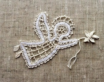45cf9b446 Souvenir Angel Bobbin Lace Linen Russian Vologda Bobbin Lace Hand made  White Ivory