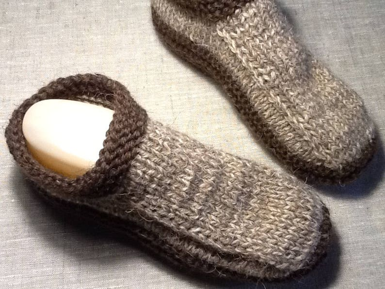 d4243fe66204a Pure Woolen slippers Double sole Mens Unisex House shoes Size 10, 11, 12  Hand knitted Natural rustic wool Organic shoes Eco socks