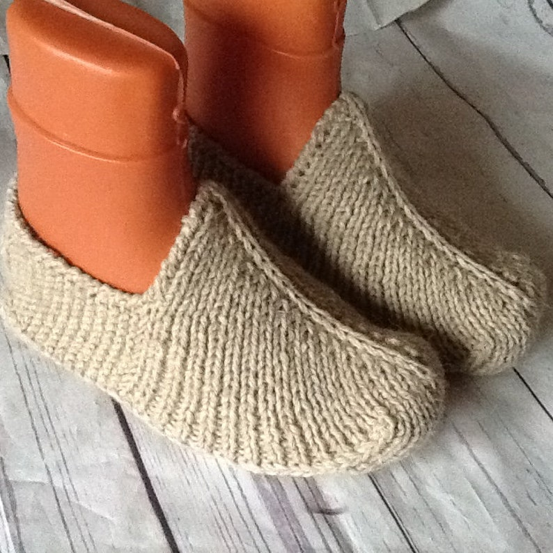 da55d09a186c9 Men's Woolen slippers Unisex House shoes Hand knitted Natural rustic wool  Hand made Organic shoes Eco socks