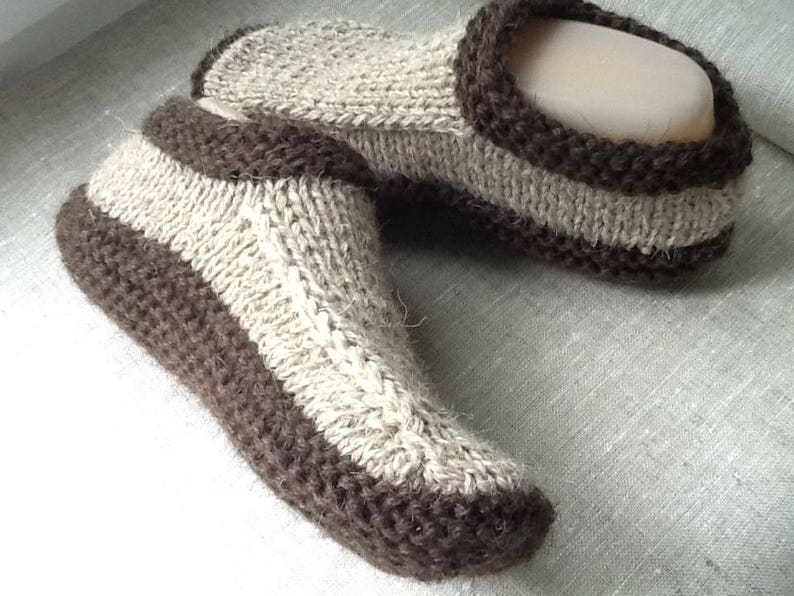 4f6e96b67e56e Pure Woolen slippers Womens Double sole Coffee Brown House shoes Hand  knitted Warm slippers Oganic shoes Eco socks