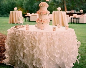 Lavish Curly Willow Ruffled/Ruffles Organza Table Skirt- Various Colors and Sizes Available
