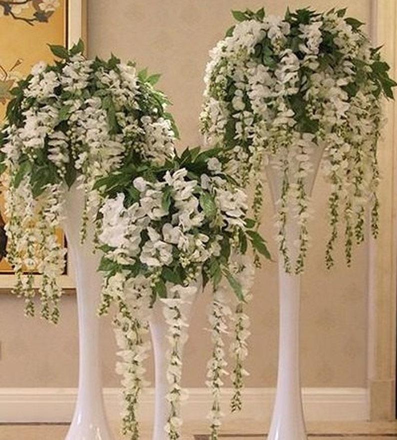 50 x Wedding Artifical White Wisteria Flower Vines Garlands image 0