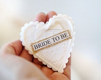 Vintage Lace Bride To Be Badge - Vintage Hen Party - White Lace Hen Party Badge