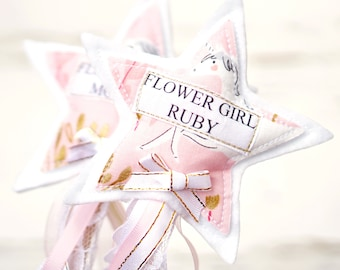 Flower Girl Wand - Blush & Gold Unicorn - Vintage Flower Girl - Thank you for being our flower girl - Shabby Chic Flower Girl - LIMITED