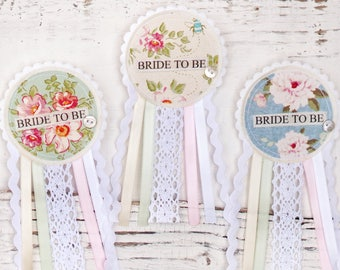 Bride To Be Rosette Badge - Pastel Colours -  Lace Ribbon Vintage Shabby Chic Hen Party Badge