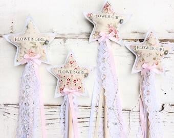 Flower Girl Wand - Floral Vintage Flower Girl Wand - Vintage Flower Girl - Thank you for being our flower girl - Shabby Chic Flower Girl