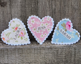 Hen Party Badges - Fabric Heart Name Badges - Perfect for Hen Parties, Birthdays, Boutique shops etc.
