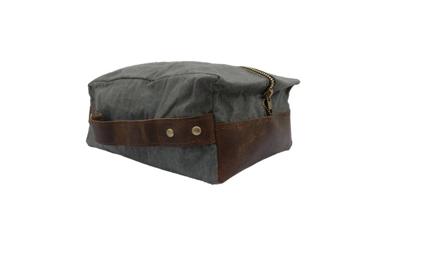 Canvas Leather Dopp Kit Leather Shaving Kit Leather Toiletry  5b1440c075e1e